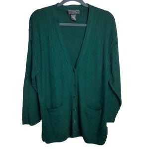 August Silk 100% silk green cardigan sweat…